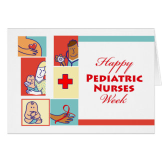 Enfermeiras pediatras felizes semana, pacientes e cartão