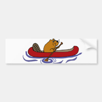 Enfileiramento engraçado do castor na canoa adesivo para carro