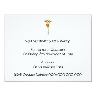 Enfrentar do girafa envia. Desenhos animados Convite 10.79 X 13.97cm