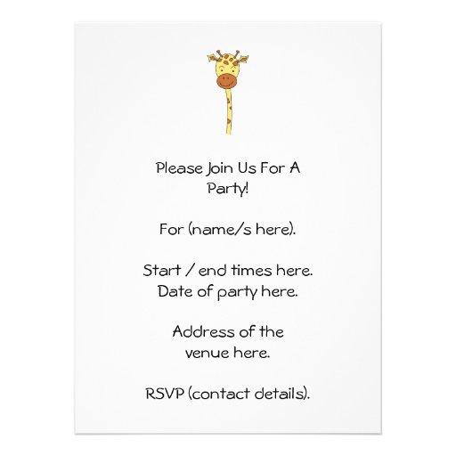 Enfrentar do girafa envia. Desenhos animados Convite Personalizados