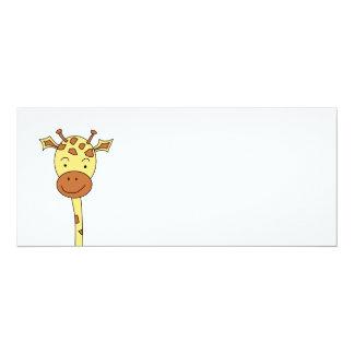 Enfrentar do girafa envia. Desenhos animados Convite 10.16 X 23.49cm