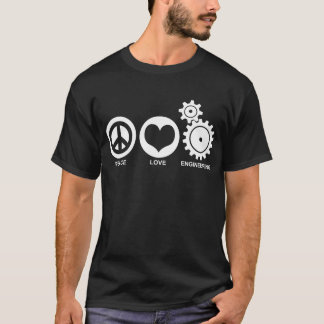 Engenharia do amor da paz camiseta