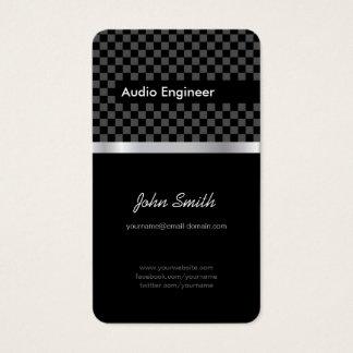 Engenheiro audio - quadrados de prata pretos cartão de visitas