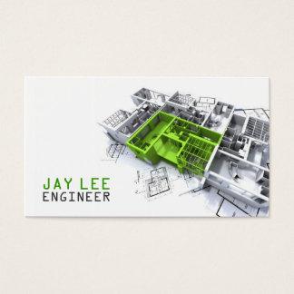 Engenheiro, engenharia, arquiteto, construtor cartão de visitas