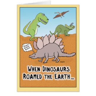 Engraçado quando os dinossauros vaguearam o cartão