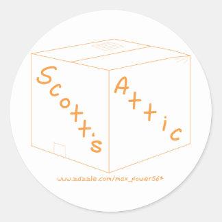 Engrenagem do logotipo do sótão de Scott Adesivo Em Formato Redondo