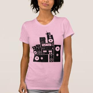 Engrenagem estereofónica auto senhoras reversas t-shirts