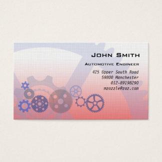 Engrenagens mecânicas vermelhas cartão de visitas