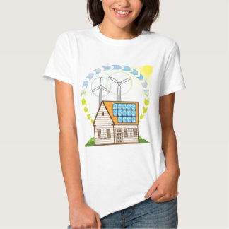 Enrole a energia solar de Eco do vetor da casa Tshirt