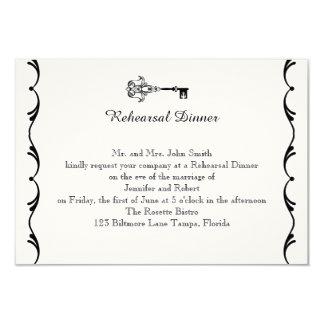 Ensaio chave preto e branco do casamento convite 8.89 x 12.7cm