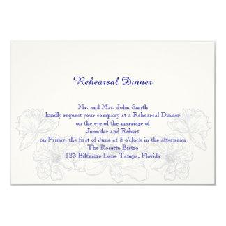 Ensaio floral do azul marinho e o branco do convite 8.89 x 12.7cm