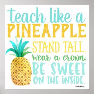 Ensine como um poster do abacaxi