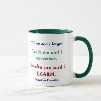 Ensine-me a caneca das citações de Ben Franklin