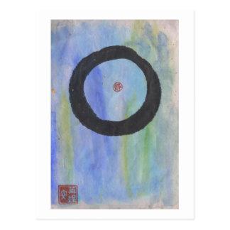 Enso azul (círculo do zen) do cartão da