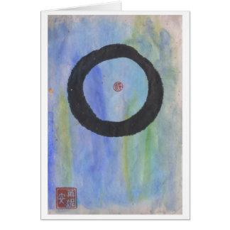 Enso azul (círculo do zen) do cartão vazio da