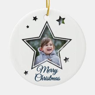 Entalhe da estrela - Feliz Natal - ornamento