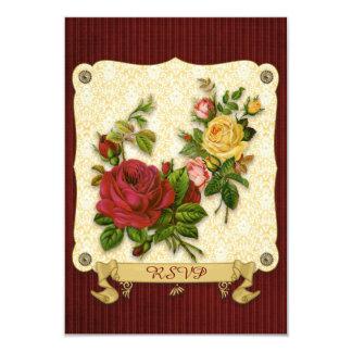 Entalhes vermelhos elegantes do vintage do damasco convite