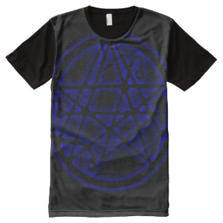 Entrada azul de Necronomicon Sigil Camisetas Com Impressão Frontal Completa