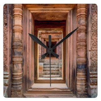 Entrada de Angkor Wat, Cambodia Relógio Quadrado