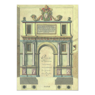 Entrada de porta da igreja da arquitetura do convite 12.7 x 17.78cm