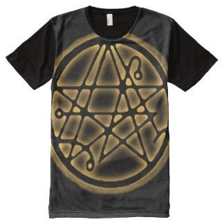 Entrada Sigil do ouro de Necronomicon Camisetas Com Impressão Frontal Completa