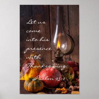 Entre sua presença com acção de graças, salmo 95 pôster