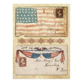Envelopes carimbados da guerra civil com a bandeir cartão postal