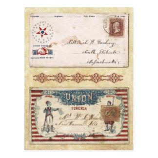 Envelopes carimbados da guerra civil com a união cartao postal