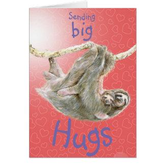 """""""Enviando mãe e bebê da preguiça dos abraços Cartão Comemorativo"""
