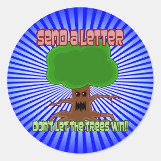 Envie o design da vitória das árvores da letra adesivos redondos