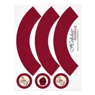Envoltório vermelho do cupcake de brocado do Natal Panfleto Personalizados