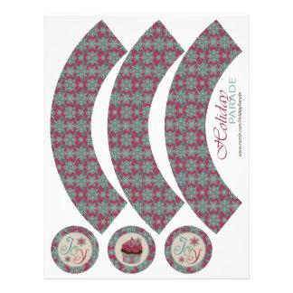 Envoltórios boémios de Cucpake do Natal elegante Panfleto Personalizados