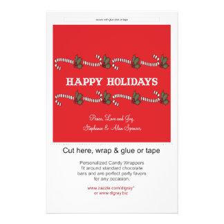 Envoltórios de doces vermelhos do feriado do bastã panfleto personalizados