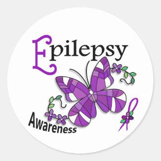 Epilepsia da borboleta 2 do vitral adesivo redondo