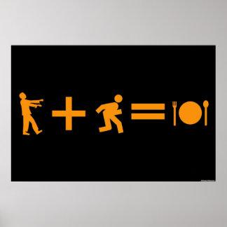 """Equação 24"""" do zombi x 36"""" poster pôster"""