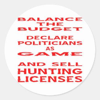 Equilibre o orçamento declaram políticos como o adesivo