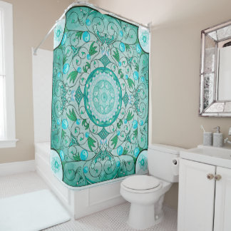 Equilíbrio da cortina de chá cura da mandala da cortinas para chuveiro