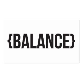 Equilíbrio - suportado - preto e branco cartão de visita