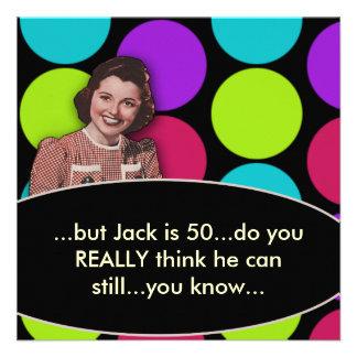 Equipa a 50th festa de aniversário retro engraçada convite personalizados