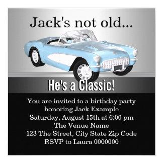 Equipa a festa de aniversário do carro antigo convite quadrado 13.35 x 13.35cm