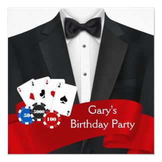 Equipa a festa de aniversário do póquer convite