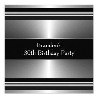 Equipa a festa de aniversário preta e de prata convite personalizados