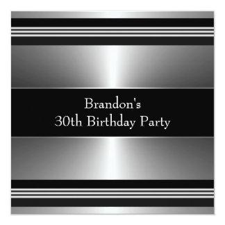 Equipa a festa de aniversário preta e de prata convite quadrado 13.35 x 13.35cm