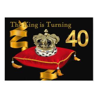Equipa o partido de aniversário de 40 anos do rei convite 12.7 x 17.78cm
