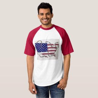 Equipa o T com bandeira e fitas dos E.U. Camiseta