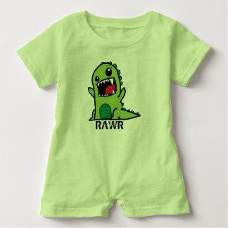 Equipamento do bebê do dinossauro verde macacão para bebê
