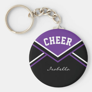 Equipamento do cheerleader no roxo chaveiro