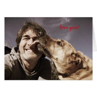 """Equipe o cão """"amor você"""" cartão de inquietação"""