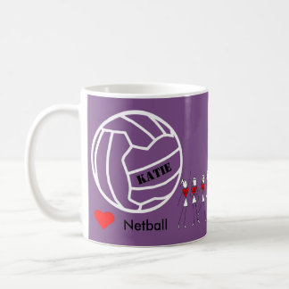 Equipe personalizada do Netball do amor e design Caneca De Café