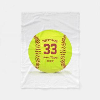 Equipe personalizada do softball cobertor de lã